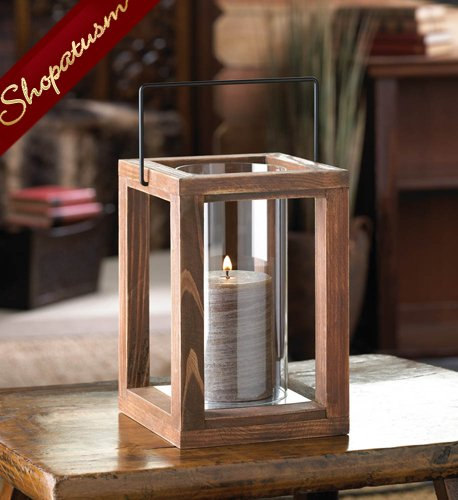 Rustic Wood Garden Centerpiece Glass Cylinder Candle Lantern