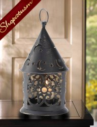 Distressed Copper Look Centerpiece Starry Night Candle Lantern