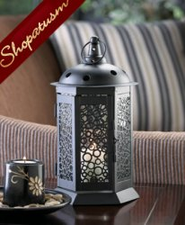 Dark Metal Centerpiece Bubbling Up Circles Candle Lantern