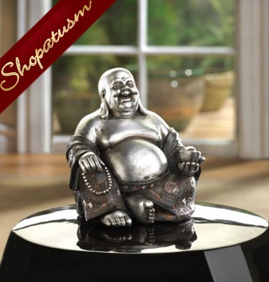 Happy Buddha, Sitting Buddha Statue, Silver and Black Buddha Statue