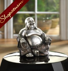 Happy Sitting Buddha Silver and Black Statue Wealth & Prosperity