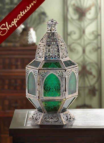 48 Basilica Centerpieces Emerald Green Burnished Silver Lanterns