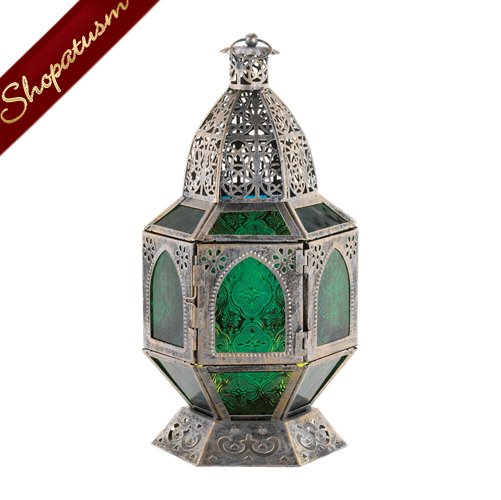 Image 1 of 48 Basilica Centerpieces Emerald Green Burnished Silver Lanterns