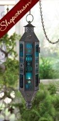12 Wholesale Lanterns, Blue Glass, Black Serenity Centerpieces, Bulk Lot