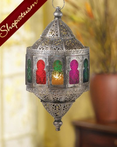 Rustic Silver Metal Moroccan Exotic Hanging Candle Lantern Centerpiece