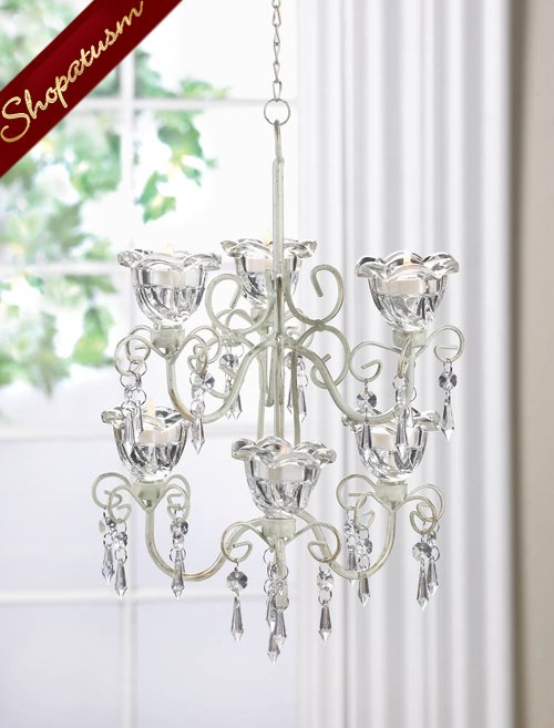 Shabby Distressed Ivory Metal Double Chandelier Crystal Flowers Bloom