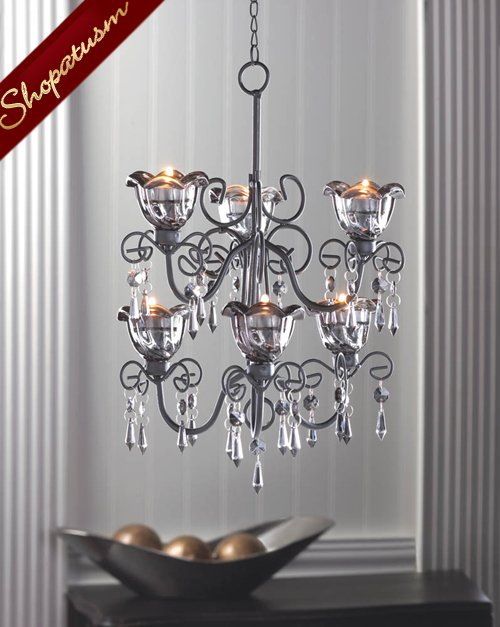Shabby Black Crystal Drop Double Chandelier Hanging Centerpiece