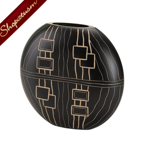 Tribal Design Black Wood Rounded Vase Artifact Decorative