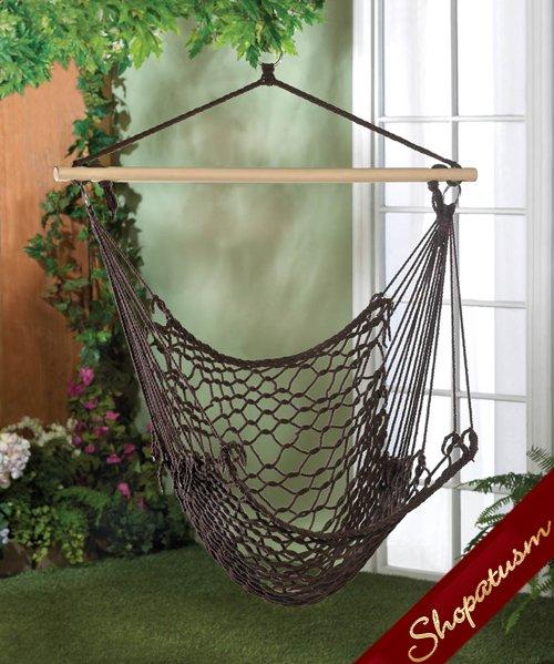 Espresso Rope Woven Hanging Garden Hammock Chair