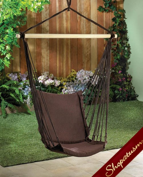 Espresso Cotton Padded Hanging Hammock Swing Chair