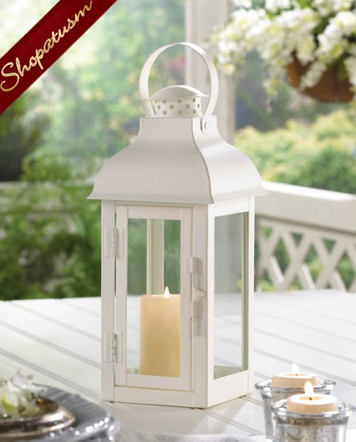 White Medium Classic Wedding Centerpiece Gable Candle Lantern