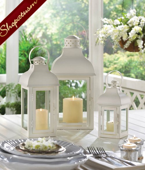 Image 1 of White Medium Classic Wedding Centerpiece Gable Candle Lantern