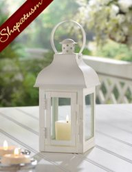 48 Gable Candle Lanterns White Small Classic Wedding Centerpieces