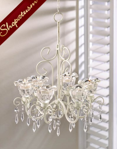 Shabby Ivory Distressed Crystal Blooms Centerpiece Chandelier