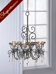 Midnight Crystal Blooms Black Hanging Centerpiece Chandelier