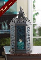 12 Wholesale Lanterns, Azure Blue Glass Lanterns, Cove Lanterns, Bulk Lot