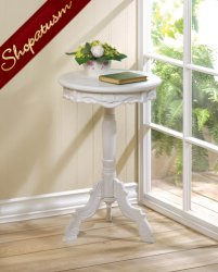 Mini Rococo White Accent Table Decorative Side Table