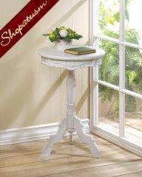 Mini Rococo White Accent Table Decorative Side Table