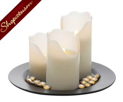 10 Sets LED Pillar Flameless Candle Centerpieces with Plate & Remote