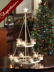 Ivory Tree Centerpiece Tabletop or Hanging 2 Tier Chandelier