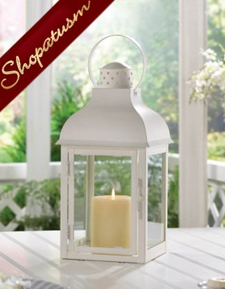 Image 1 of Large White Gable Centerpiece Garden Candle Lantern