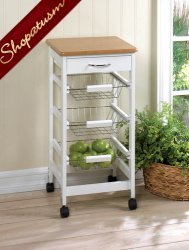 Kitchen Trolley White Side Table with Drawer & Storage Baskets