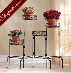 Black Metal Screen Four-Tier Garden Plant Stand Screen