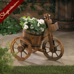 Country Charm Plant Holder Wood Tricycle Garden Planter