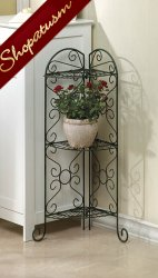 Antiqued Faux-Verdigris Corner Plant Stand 3 Shelves