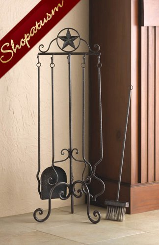 Western Flair Lone Star Rustic Iron Fireplace Tool Set