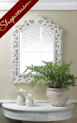 Fleur-De-Lis Intricately Carved Wood Frame White Wall Mirror