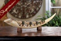 Carved Green Elephant Tusk Decorative Centerpiece
