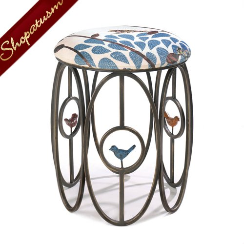 Bird Motif Foot Stool Free As A Bird Metal Stool with Cushion