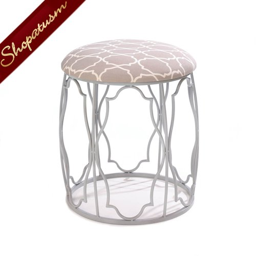 Moroccan Inspired Stool with Exotic Geometric Patterns Cushion