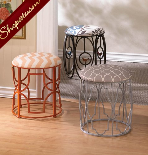 Image 1 of Moroccan Inspired Stool with Exotic Geometric Patterns Cushion