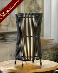 Black Metal Slat Concave Table Lamp Decorative Centerpiece