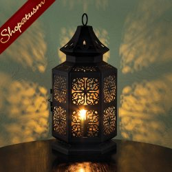 Large Intricate Black Metal Table Lamp Exotic Moroccan Centerpiece