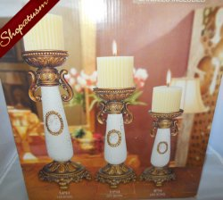 6 Piece Set Bronze & White Crackled Candle Holders Cameo Centerpieces