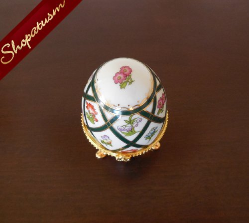 Image 1 of Porcelain Hand Painted Green Gold Floral Fabulous Egg My Treasure