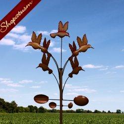 Artistic Outdoor Garden Metal Art Dancing Hummingbirds Windmill