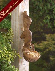 Garden Accent Scurrying Squirrel Sculpture Bird Feeder
