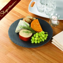 Hand Chiseled Slate Lazy Susan Serving Tray