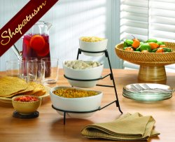 3 Tier Space Saving Ceramic and Metal Serving Bowls