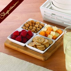 Bamboo Wood White Ceramic Serving Set Serving Tray