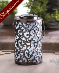 Florentine Iron Swirls Solar Powered Garden Lantern