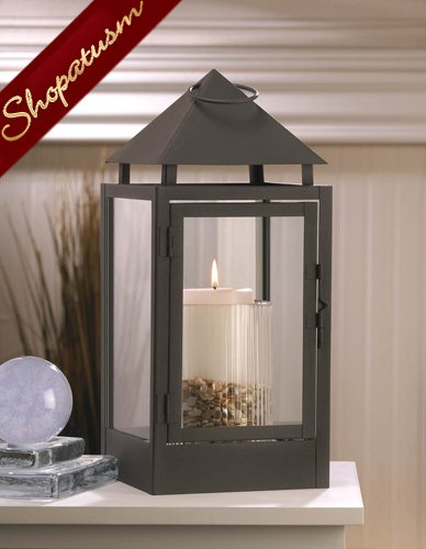 Large Spinx Matte Black Centerpiece Pyramid Shaped Candle Lantern