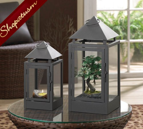 Image 1 of Large Spinx Matte Black Centerpiece Wholesale Pyramid Candle Lantern
