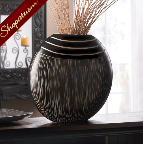 Exotic tribal black wood centerpiece wooden decorative vase