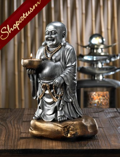 Standing Buddha Candle Holder, Buddha Statue, Silver and Bronze Candle Holder