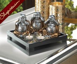 No Evil Serenity Buddha Statue Candle Holder Centerpiece Wood Frame & Stones